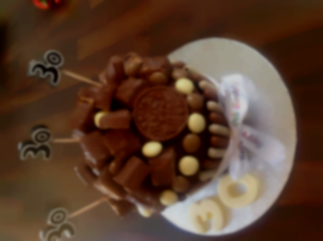 Giant chocolate cupcake with chocolate bars on the top