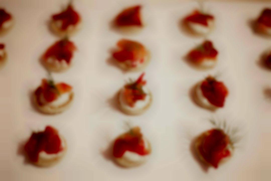 Beetroot & Gin Cured Salmon, Horseradish Creme Fraiche & Dill (Canapé)