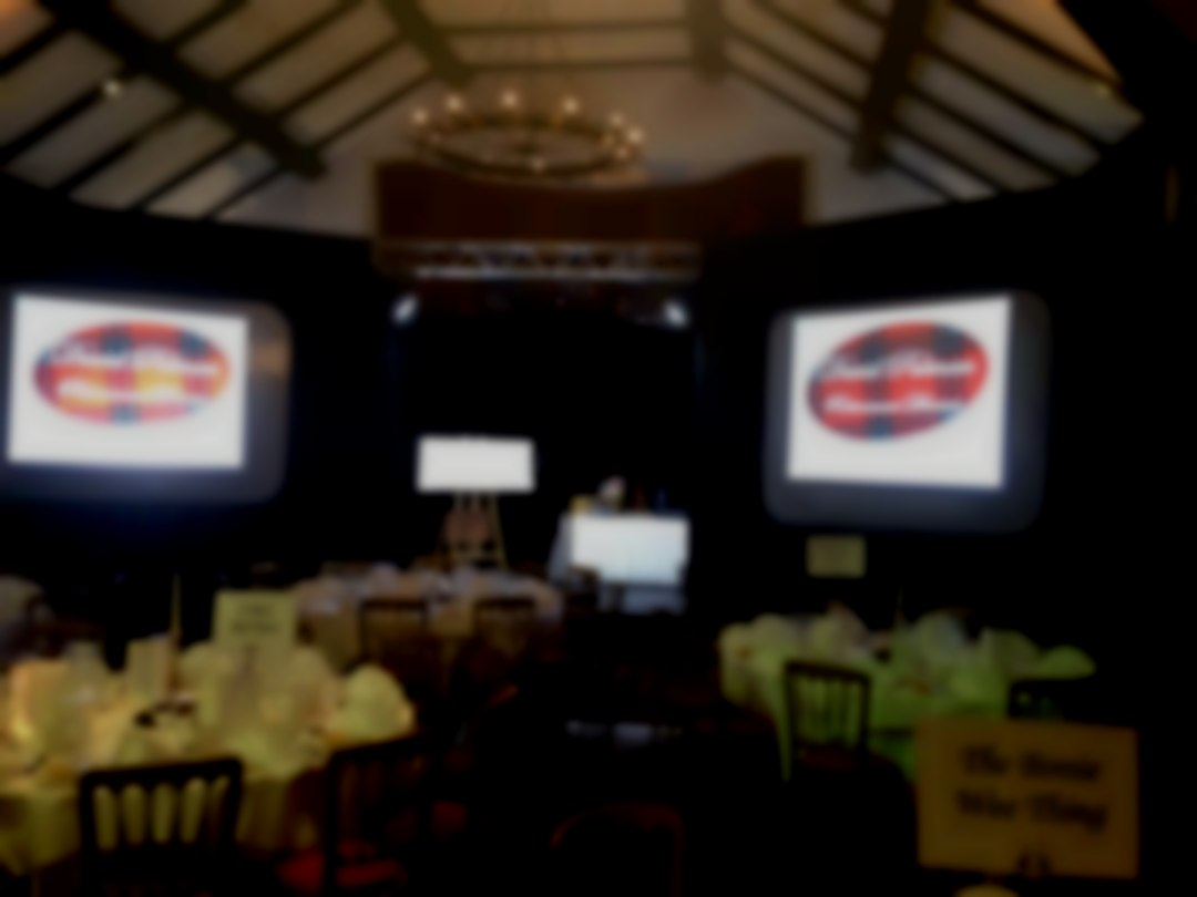 View of Stage Set and Projection for Awards Dinner