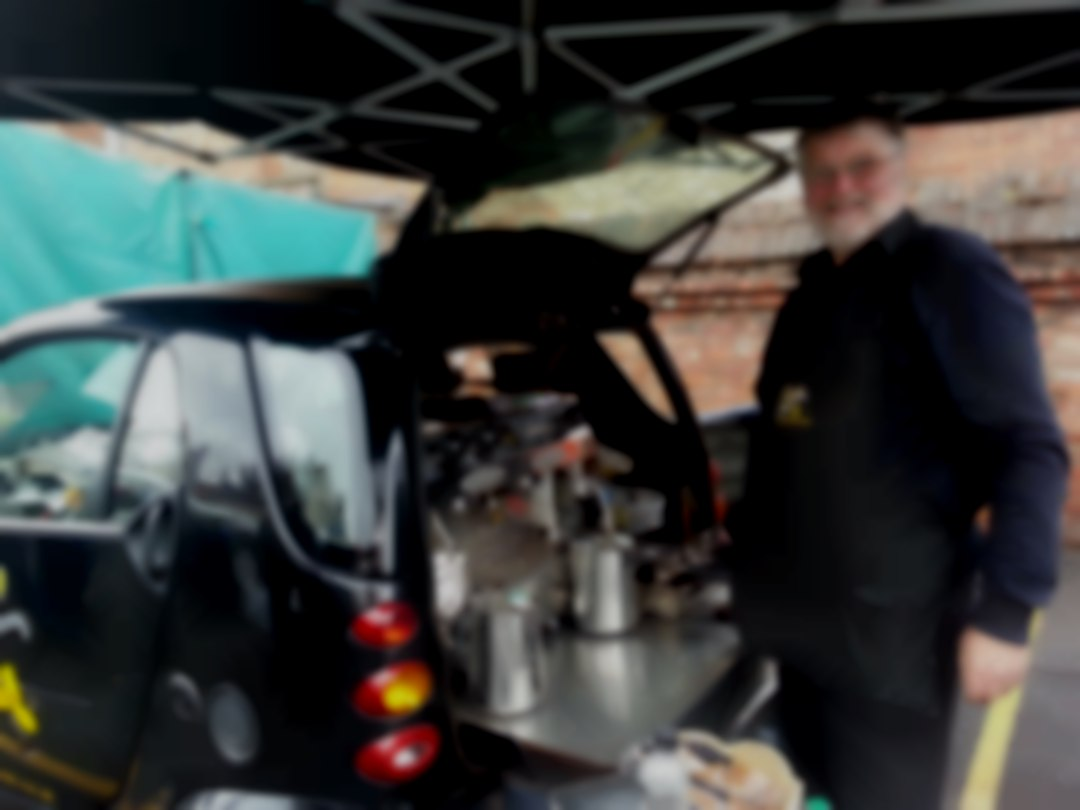 Mobile Coffee from the back of a Smart Car