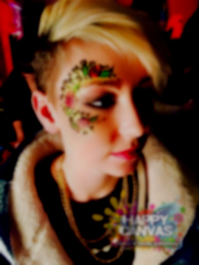 Leopard Rose Adult Glitter Eye Design by London Face Painter Happy Canvas