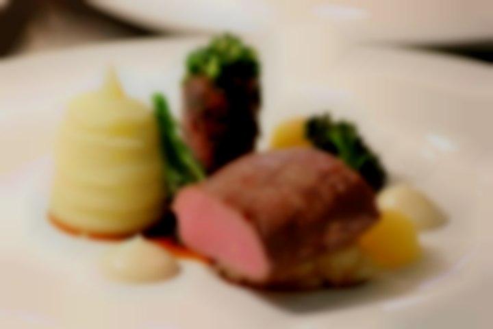 Roast loin of lamb, braised shoulder, pomme purée