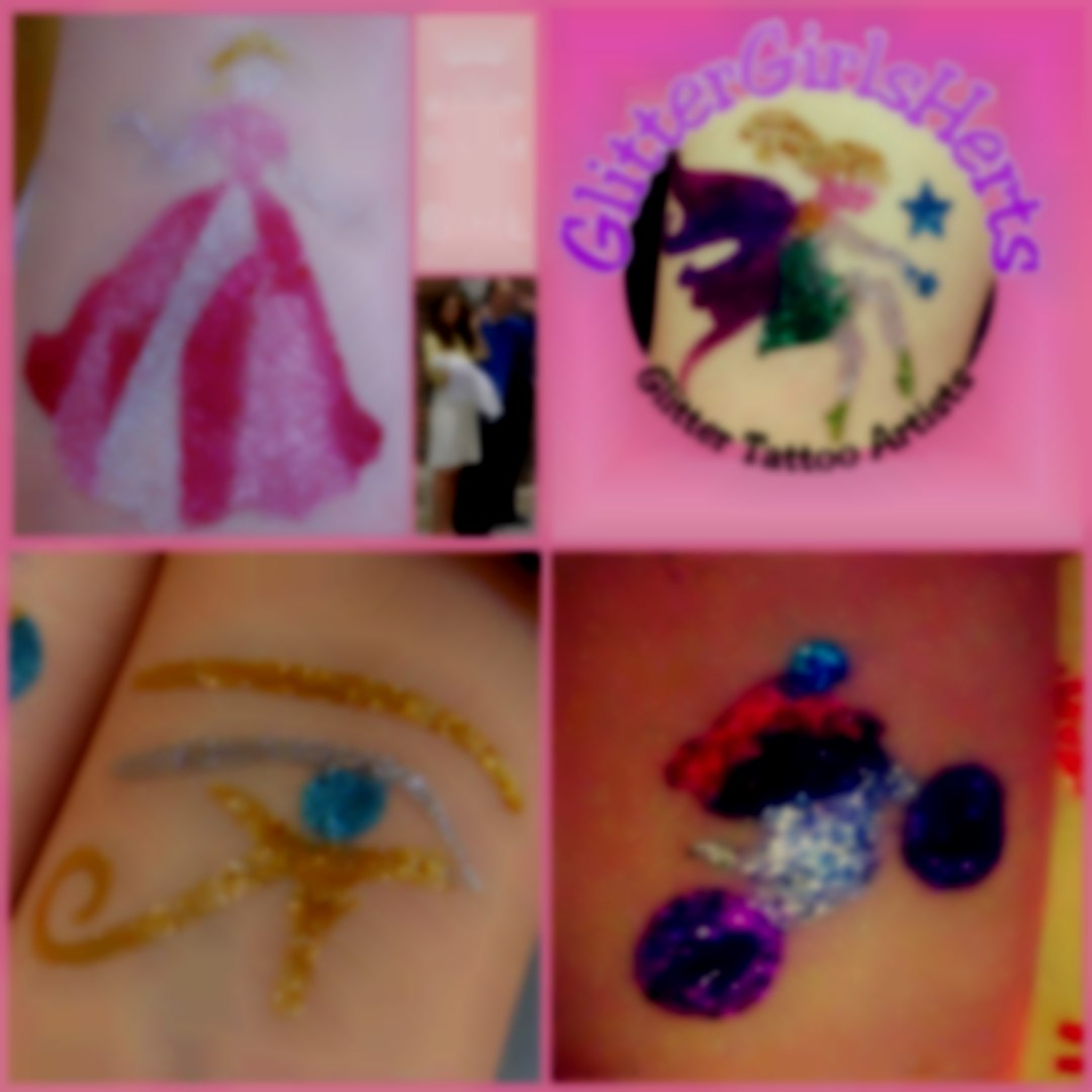 GLITTERGIRLSHERTS motor cross eye of Horus & princess glitter tattoos