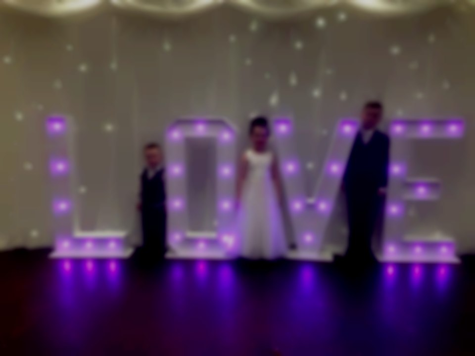 Giant light up love letter hire South Wales