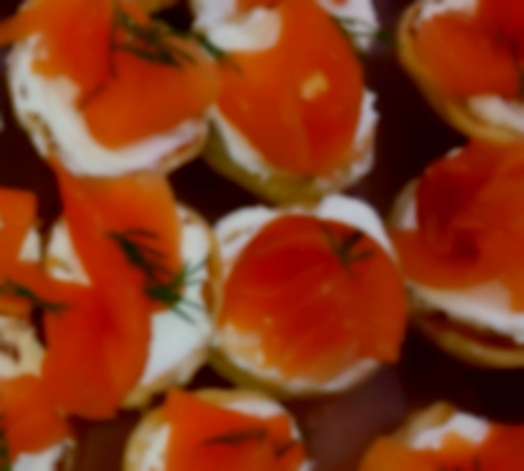 Smoked Salmon Blinis with cream cheese & fresh dill