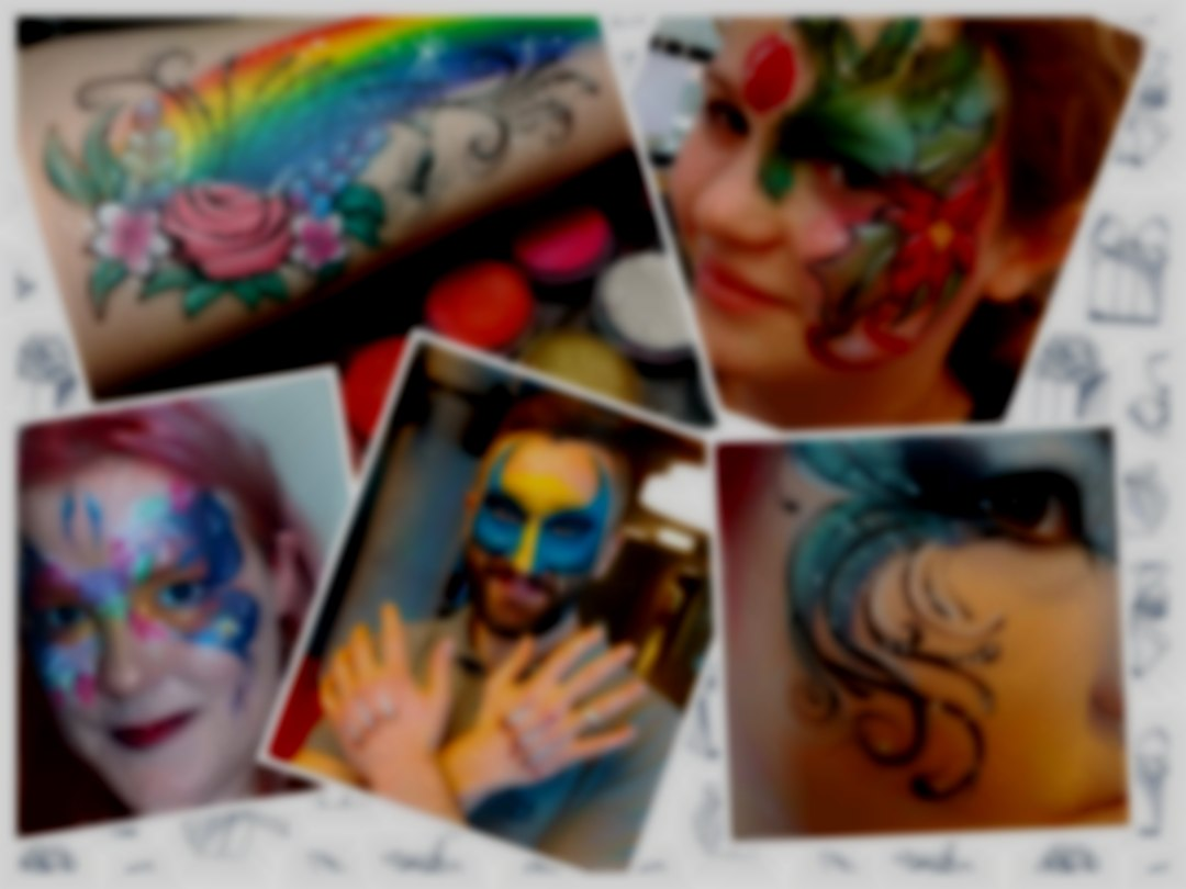 Multiple photos of face painting