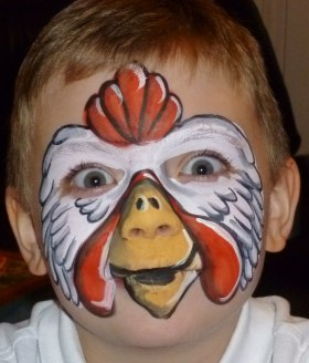 Prize winning chicken face paint design