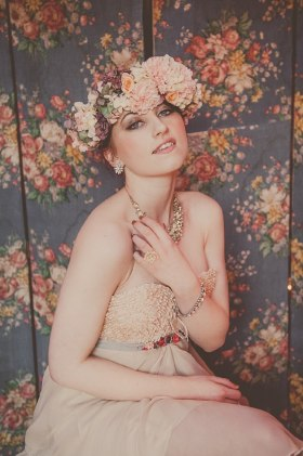 Bridal fashion shoot with our vintage floral screen.