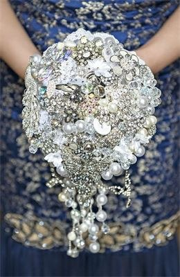 Large crystal bouquet with brooches