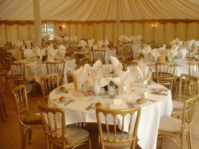 Penny Beral catering and events, typical wedding marquee setting