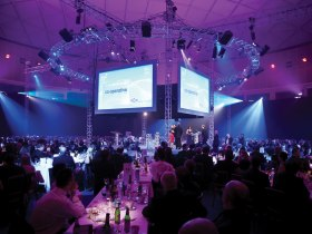corporate event with lighting with truss and pa system