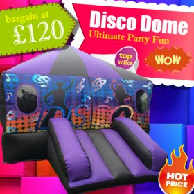 Disco Dome Bouncy Castle feat. Music PA and Disco-Style Lights 20ft X 15ft
