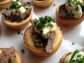 Yorkshire pudding with roast beef and wholegrain mustard