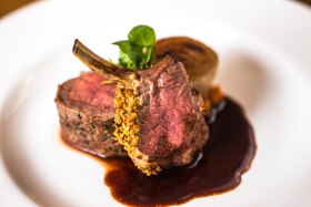 Herb crusted lamb rack, pan fried loin, braised shallot & port jus