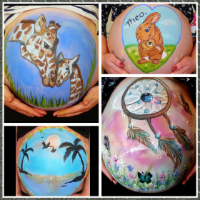 Various beautiful, bespoke pregnancy bump paintings