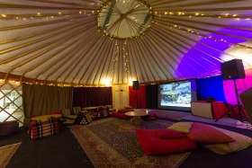 Our sound system in a yurt