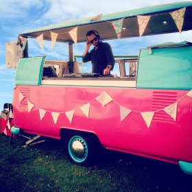 VW camper DJ booth