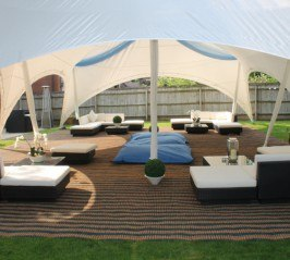 28 x 38 Capri Marquee with Rattan loungers