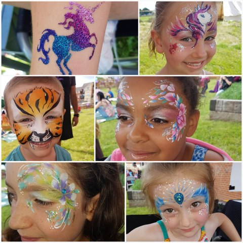 facepaint and glitter tattoo