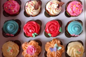 variety cupcakes, rose, ice cream, hearts, stars, flowers