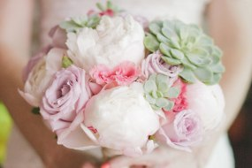 bouquet with peonies and succulents