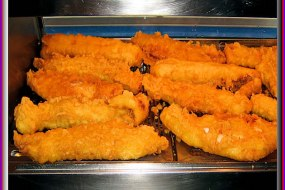 Thick cut battered cod.