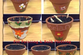 Painting flower pots & planting bulbs