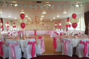 balloon decor, chair covers, table plan