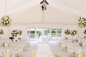 White flat wedding linings in a marquee for luxury bespoke wedding