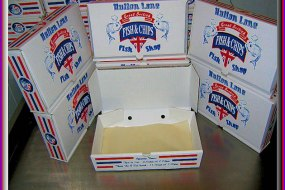 Personalised fish and chip cartons.