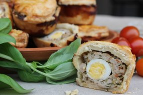 our homemade pork and pancetta pies with a quails egg.