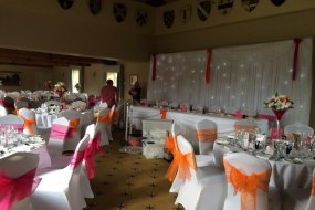 chair covers,centrepieces,balloons