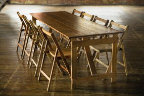 Great oak trestle tables - made from a reclaimed dance floor!