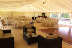 Another interior shot from a marquee, with chill out furniture next to the dance floor if the dancing gets too much !