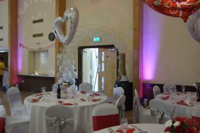 foil balloons, table linen, chair cover hire