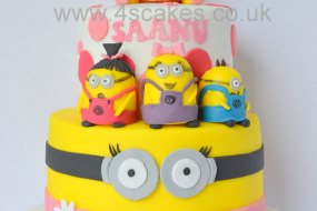 Two tier Minion Birthday cake made by 4S Cakes bromley wedding cake makers