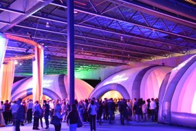 Inflatable domes used at an indoor exhibition