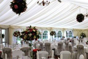 marquee flower balls and table arrangements