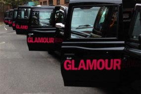 London black taxi fleet for Glamour Magazine