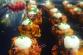 Our new autumn winter canapes, butternut squash and chesnut fritters
