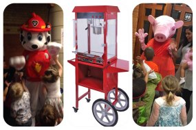 Mascots and popcorn and candy floss machine for children's parties