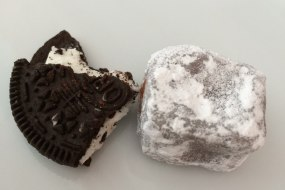 Cookies and cream truffles dusted in powdered sugar