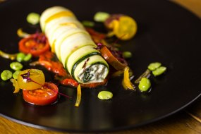 Ricotta stuffed courgettes, red pepper compote, broad beans & heritage tomatoes