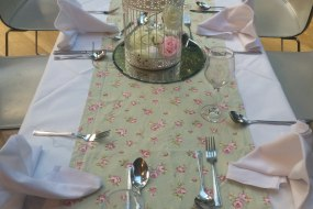 table runner and  bird cages
