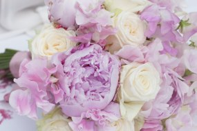 Peony, rose and sweet pea bouquet