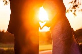Romantic couple at sunset