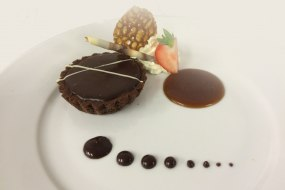 Triple Chocolate Tart with Caramel Sauce