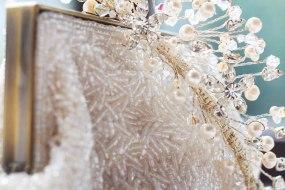 wedding clutch bag with tiara