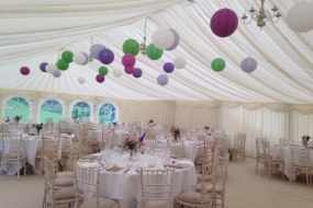 An interior shot of another bespoke marquee by ourselves. We supply paper lanterns also, which are a great aesthetic bonus inside your marquee.