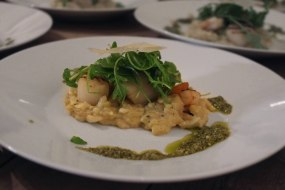 Orzo Risotto with Grilled Prawns and Scallops